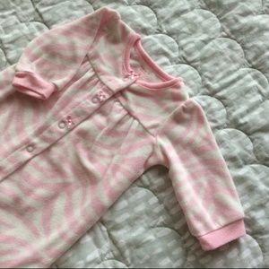 Carter's fleece pink zebra sleeper